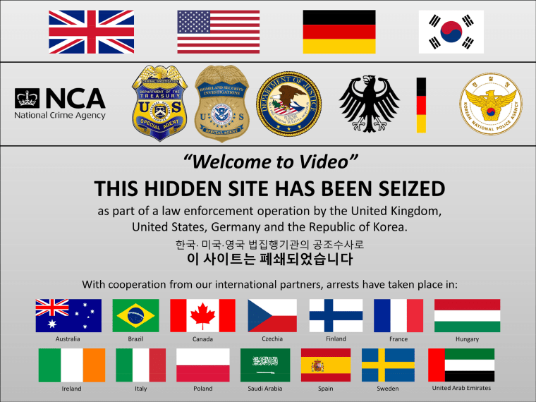 """Diese Warnung wurde auf """"Welcome to Video"""" veröffentlicht, nachdem sie von den US-Behörden beschlagnahmt wurde."""
