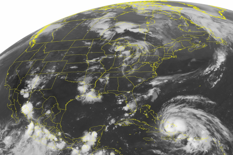 A NOAA satellite image shows Hurricane Irene, a category 2 storm with winds up to 100 mph and located about 400 miles southeast of Nassau on Aug. 24, 2011.