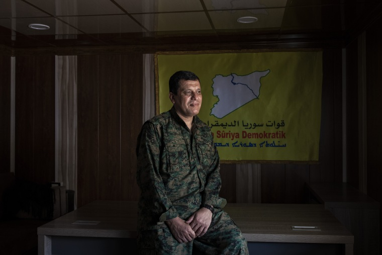Image: Mazlum Kobani, the commander of the American-backed Syrian Democratic Forces, in northeast Syria