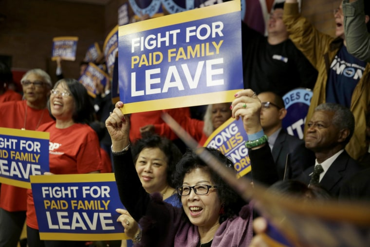 A rally for paid family leave in New York in 2016.