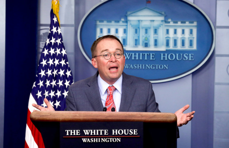 Image: Acting White House Chief of Staff Mulvaney addresses media briefing at the White House in Washington