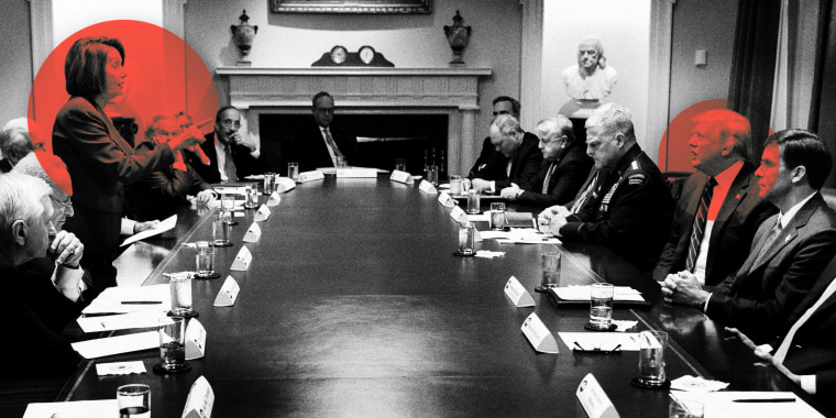 Image: In this photo released by the White House, President Donald Trump meets with House Speaker Nancy Pelosi and Congressional leadership on Oct. 16, 2019, in the Cabinet Room.