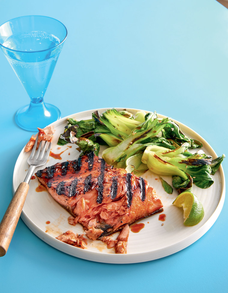 Soy-honey grilled salmon with umami roasted vegetables