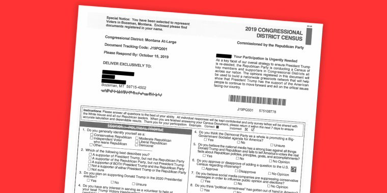 """An \""""imitation census\"""" mailed by the Republican National Committee to addresses in Bozeman, Montana that also solicits money for President Donald Trump's reelection."""