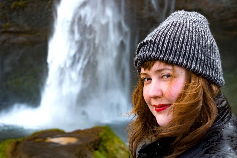 "In an Instagram post, Owen said when this photo was taken in Iceland her mind was ""beautifully blank, an empty brain wide open and primed to observe the roaring water and hoards of tourists, slightly awed."""