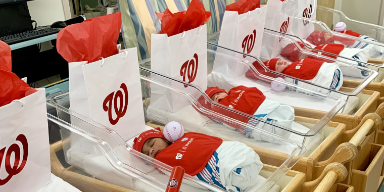 Some of the smallest residents of Inova Loudon Hospital participated in a photo shoot as the Washington Nationals continued through the World Series.