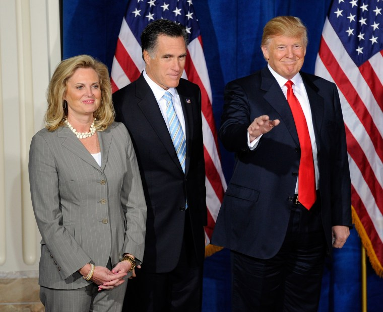 Image: Donald Trump appears at a news conference to endorse Republican presidential candidate Mitt Romney