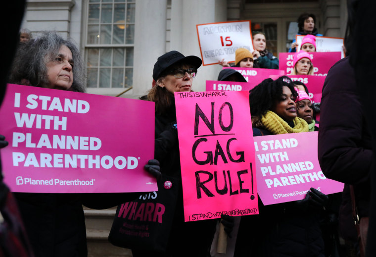 Image: Pro-choice activists gather in support of Planned Parenthood during a demonstration against a Trump administration Title X rule change in New York on Feb. 25, 2019.