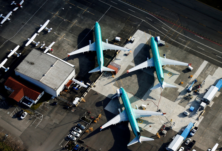Image: Boeing 737 Max airplanes at the tarmac of the Boeing Factory in Renton, Washington, on March 21, 2019.