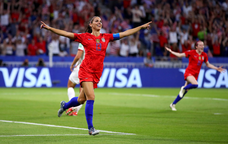 Image: United States' Alex Morgan celebrates after scoring a goal against England in Lyon, France, on July 2, 2019.