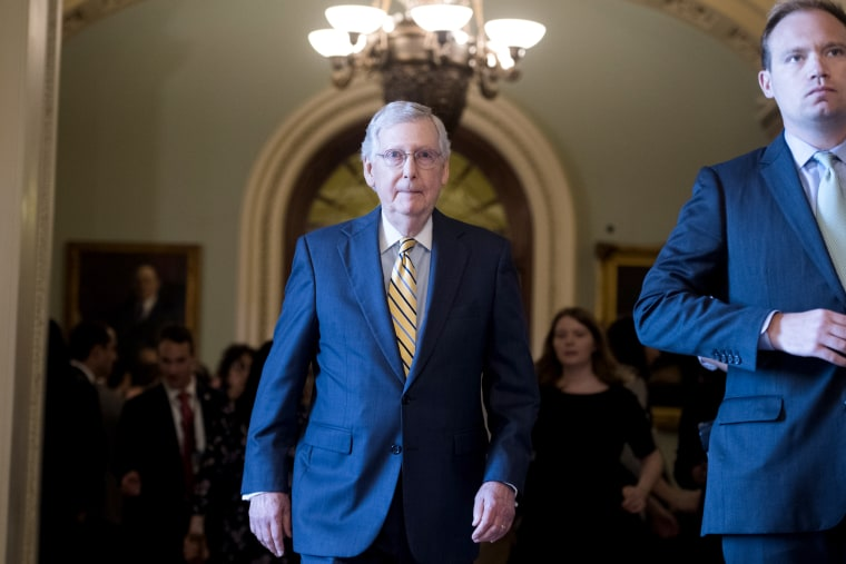 Image: Senate Majority Leader Mitch McConnell after a Senate Policy luncheon at the Capitol on July 9, 2019.