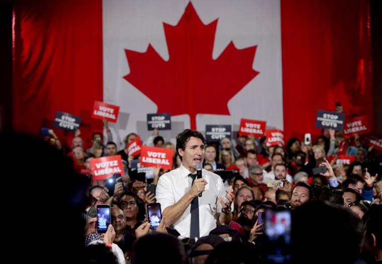 Image: Canadian Prime Minister Justin Trudeau holds a campaign rally in Ontario on Oct. 19, 2019.