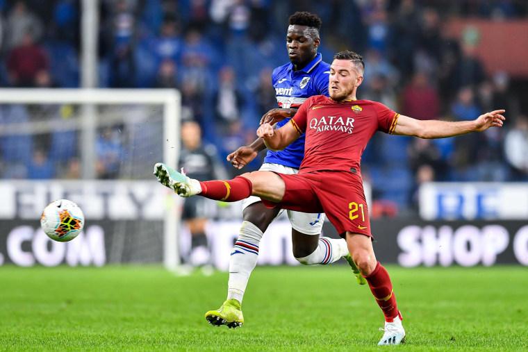 Image: Sampdoria's Ronaldo Vieira, left, clashes with Roma's Jordan Veretout during a match in Genoa, Italy, on Oct. 20, 2019.