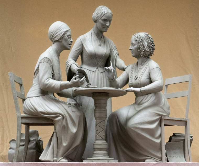 A one-third scale clay model of Sojourner Truth, left, Susan B. Anthony, center, and Elizabeth Cady Stanton offers a preview of the Central Park installation.