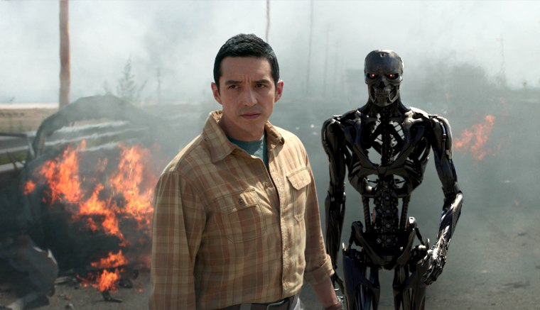 "Image: Gabriel Luna as the Rev 9: Ectoskeleton and Endoskeleton star in ""TERMINATOR: DARK FATE."""