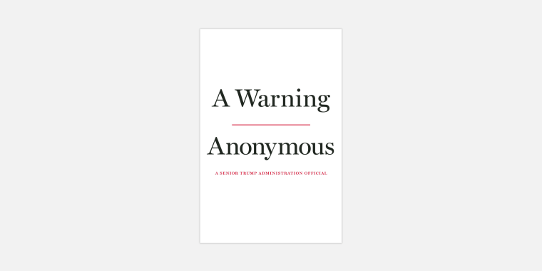 "Image: ""A Warning,"" a book from an anonymous senior Trump administration official, will be published by Javelin in November."