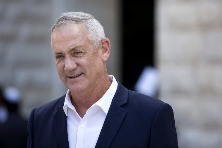 Image: Blue and White Party leader Benny Gantz leaves after paying tribute at a Memorial Ceremony for Meir Shamgar, Former President of the Supreme Court