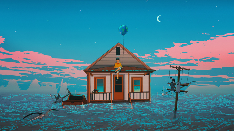 Illustration of person sitting on a flooding home while they let go of an earth-shaped balloon.