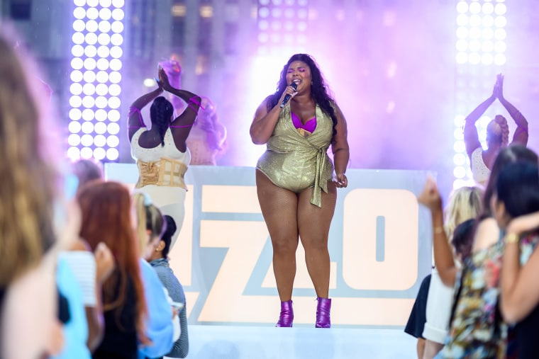 "Lizzo performs on ""Today"" on Aug. 23, 2019 in New York."