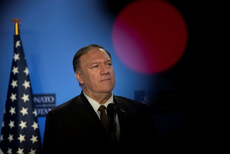 Image: U.S. Secretary of State Pompeo is pictured at NATO headquarters in Brussels