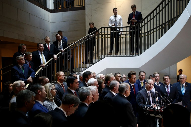 Image: House Republicans gather for a news conference after Laura Cooper,  the top Pentagon official overseeing U.S. policy regarding Ukraine, arrived for a closed door meeting on Capitol Hill on Oct. 23, 2019.