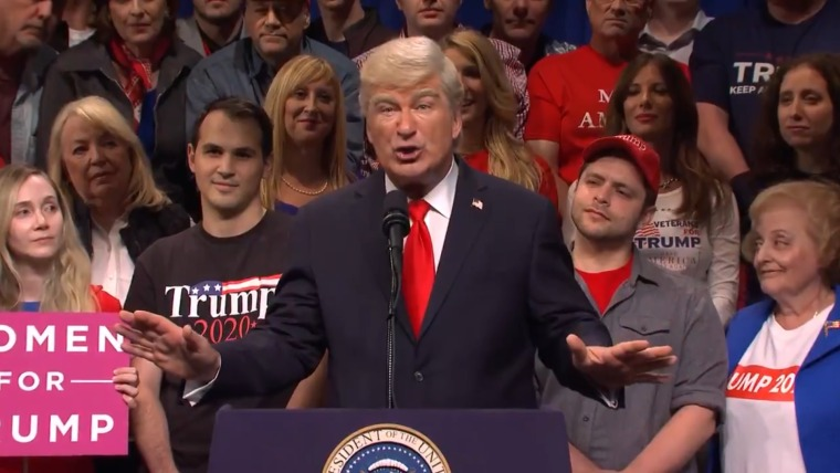 """Alec Baldwin plays President Donald Trump at a rally in Colorado in """"Saturday Night Live's"""" cold open on Oct. 26, 2019."""