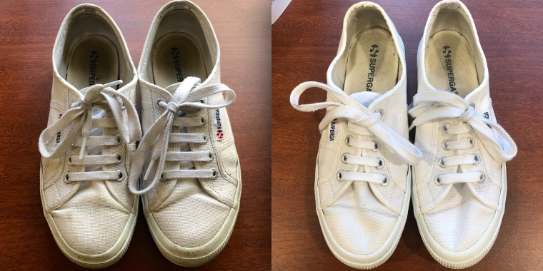 These shoes looked like they were past their prime — with a few sprays and a little scrubbing, they looked practically new.