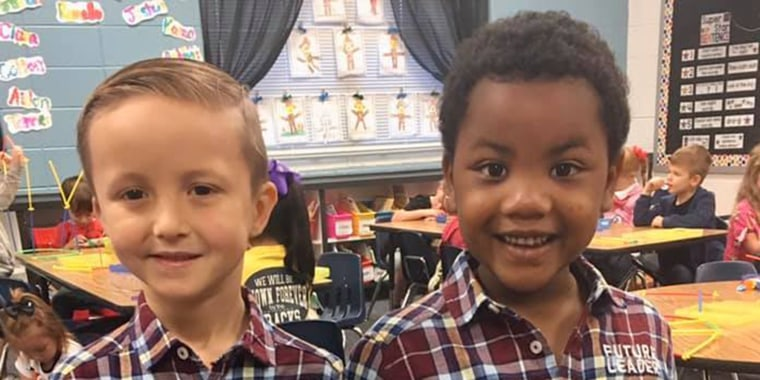 Myles (left) and Tanner (right) decided to dress up together for their school's Twin Day.