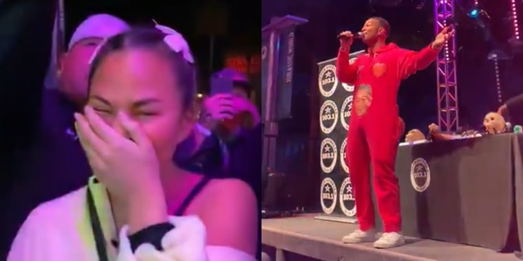 Chrissy Teigen shared a video to her Twitter of John Legend serenading himself at Universal Studios Hollywood during their Halloween Horror Nights celebration.