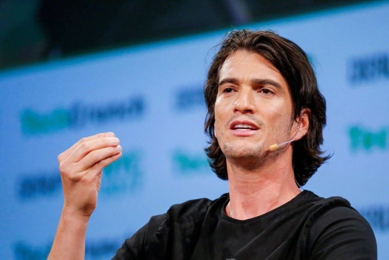 Image: FILE PHOTO: Neumann, CEO of WeWork, speaks to guests during the TechCrunch Disrupt event in Manhattan, in New York City