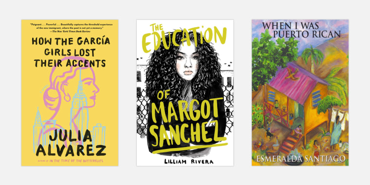 """Image: """"How The Garcia Girls Lost Their Accents"""" by Julia Alvarez; """"The Education of Margot Sanchez"""" by Lilliam Rivera; and """"When I was Puerto Rican"""" by Esmeralda Santiago."""