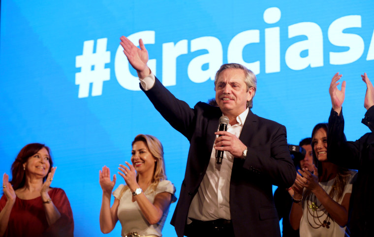 Image: Alberto Fernandez celebrates after winning the Argentinian presidential election in Buenos Aires on Oct. 27, 2019.