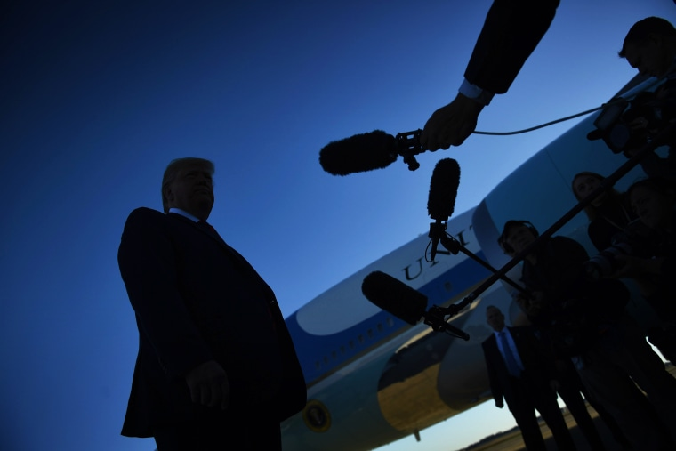 Image: President Donald Trump speaks to the press before boarding Air Force One on Oct. 28, 2019.