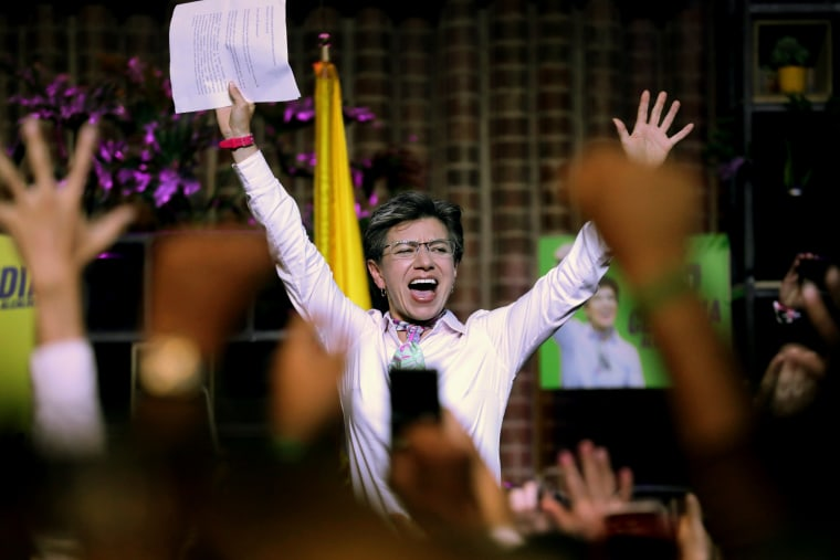 Image: Claudia Lopez celebrates after winning the mayoral election in Bogota, Colombia, on Oct. 27, 2019.