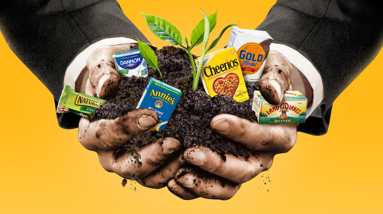 Illustration of man in suit jacket holding a clump of dirt with various branded products growing from the soil.