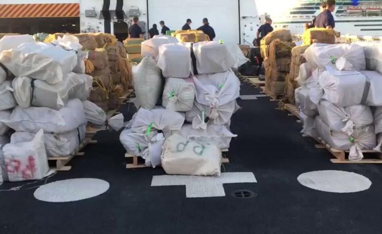 The U.S. Coast Guard offloaded 13 tons of seized marijuana and cocaine in Florida.