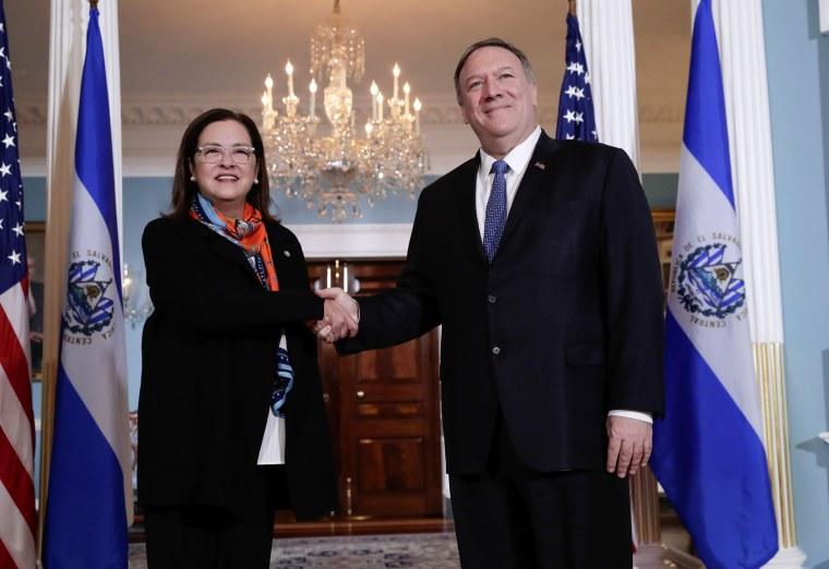 Image: Secretary of State Mike Pomepo shakes hands with El Salvadoran Foreign Minister Alexandra Hill at the State Department on Oct. 10, 2019.