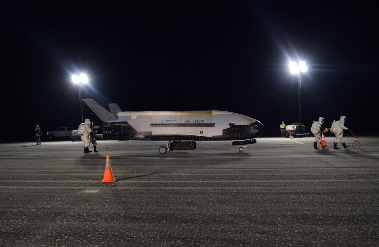 Image: The Air Force's X-37B Orbital Test Vehicle Mission 5 is seen after landing at NASA's Kennedy Space Center Shuttle Landing Facility