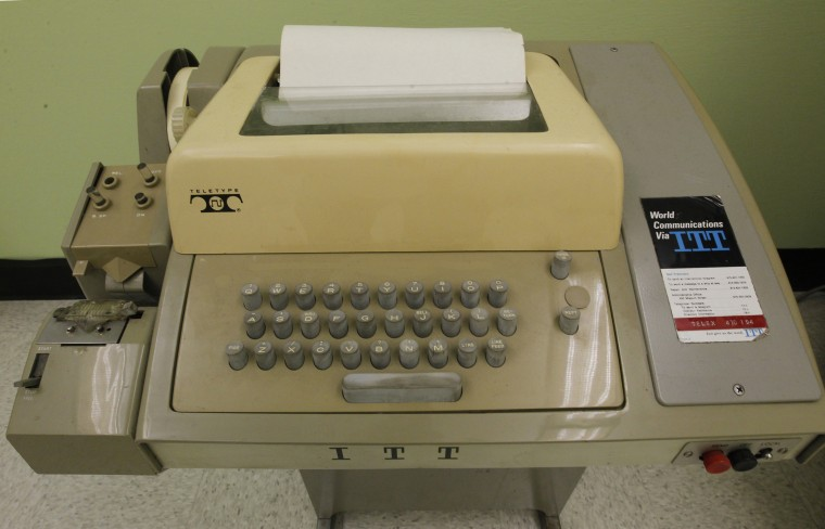 Image: A teletype similar to one used to communicate with the Sigma 7 computer which was connected to UCLA's Interface Message Processor (IMP) in the birthplace of the Internet, at 3420 Boelter Hall, the original location of the first ARPANET node