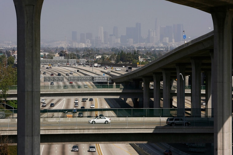 Image: Traffic moves along the 110 freeway Los Angeles, California.