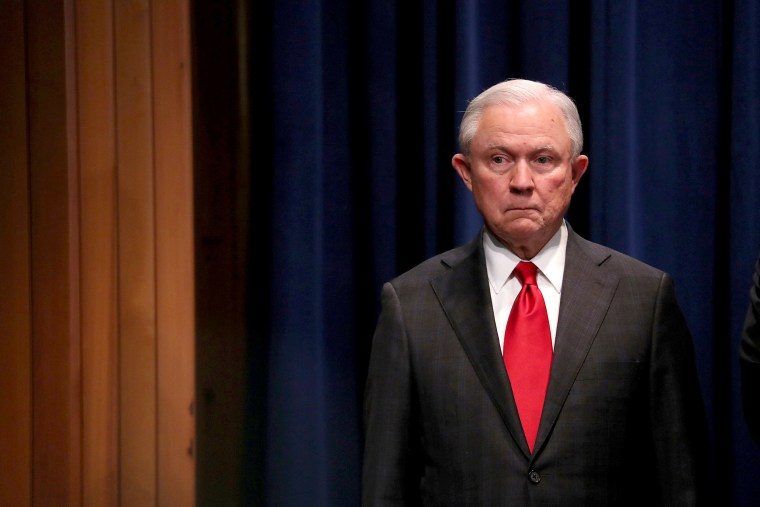 Image: U.S. Attorney General Jeff Sessions attends a news conference at the Justice Department in Washington