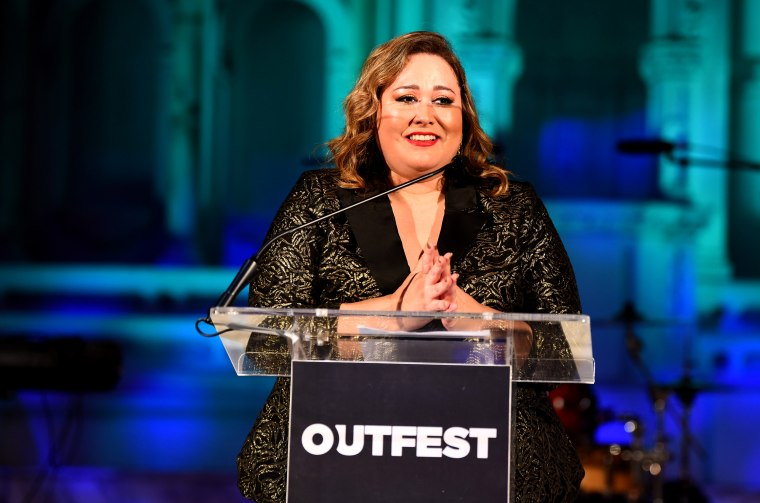 Image: Tanya Saracho speaks at the Outfest Legacy Awards Gala in Los Angeles on Oct. 27, 2019.