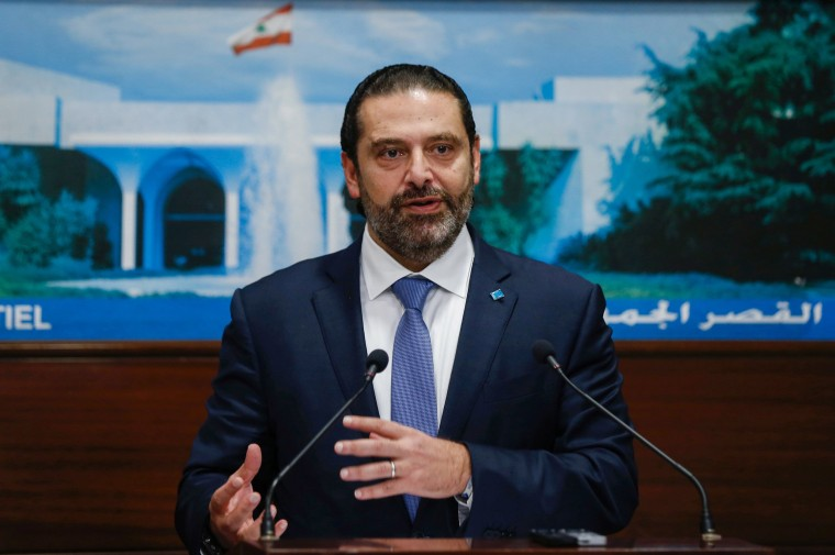 Image: Lebanon's Prime Minister Saad al-Hariri speaks during a news conference after a cabinet session at the Baabda palace