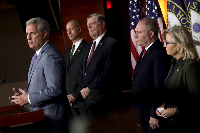 Image: House Minority Leader Rep. Kevin McCarthy, R-Calif., speaks at a press conference with other minority representatives at the Capitol on Oct. 29, 2019.
