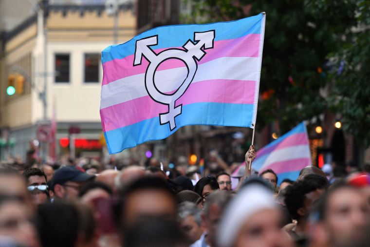 Image: A transgender flag during a rally to mark the 50th anniversary of the Stonewall Riots in New York