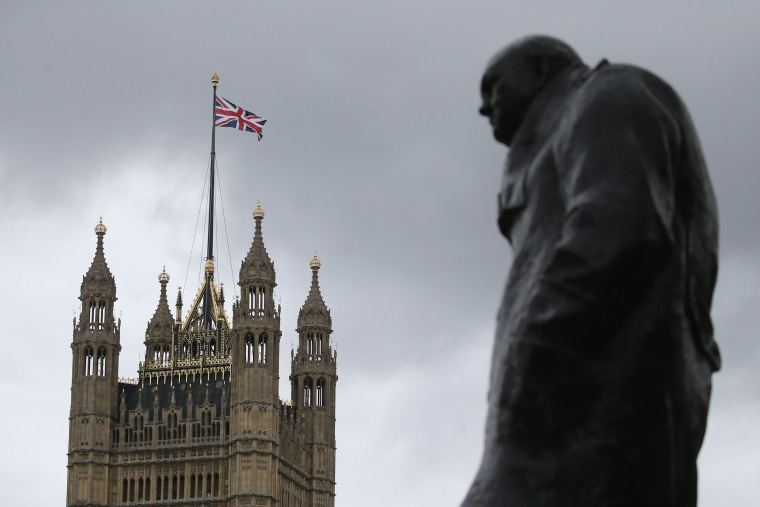 Image: A Union flag flies over the Houses of Parliament in central London on Oct. 29, 2019.