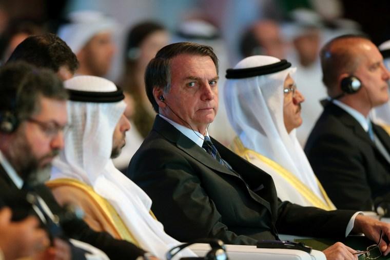 Image: Brazilian President Jair Bolsonaro attends the UAE-Brazil Business Forum in Abu Dhabi
