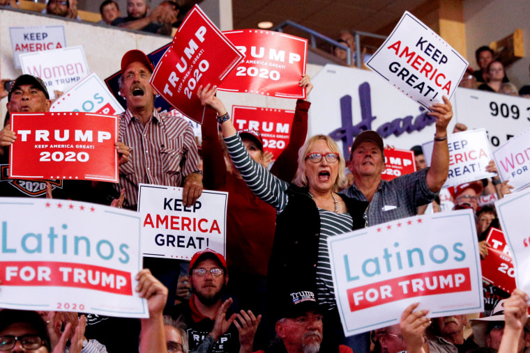Image: Supporters cheer as President Donald Trump speaks at a rally in Rio Rancho, N.M., on Sept. 16, 2019.