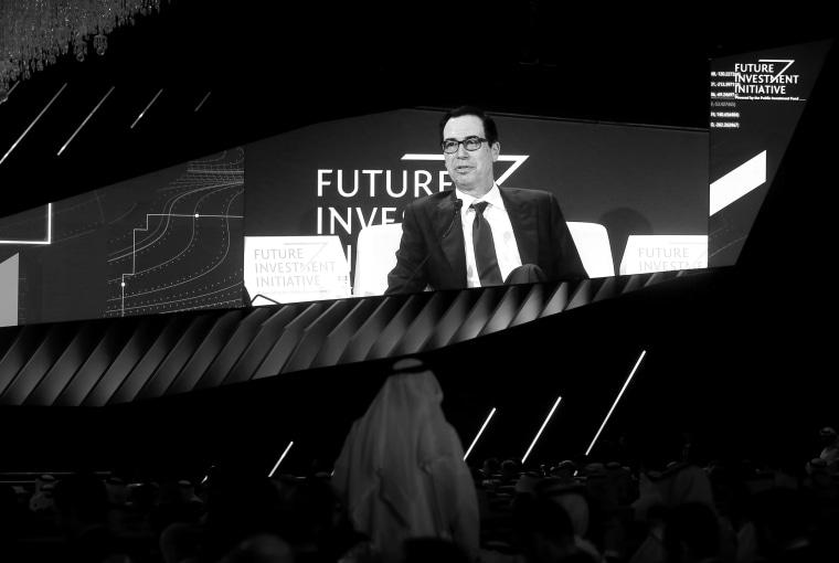 Image: Treasury Secretary Steve Mnuchin speaks at the Future Investment Initiative in Riyadh, Saudi Arabia, on Oct. 30, 2019.