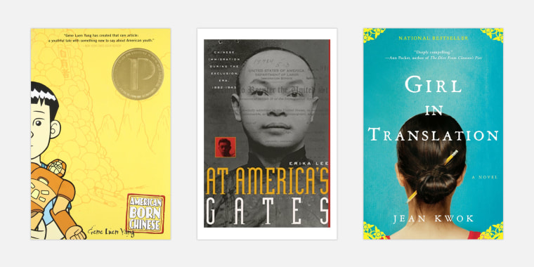 """Image: \""""American Born Chinese\"""" by Gene Luen Yang; \""""At America's Gates: Chinese Immigration during the Exclusion Era\"""" by Erika Lee; and \""""Girl in Translation\"""" by Jean Kwok."""
